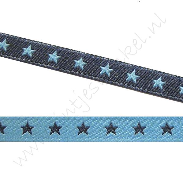 Jacquard Webband 6mm - 2seitig Stern Blau Marine
