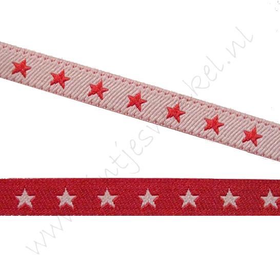 Jacquard Webband 6mm - 2seitig Stern Rot Weiß