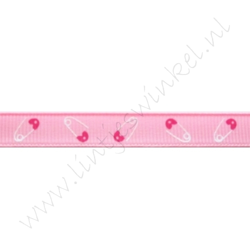 Baby Ripsband 10mm - Sicherheitsnadel Rosa