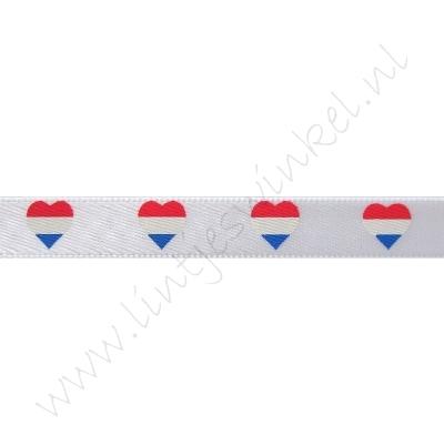 Satinband Hollandia 10mm - Herz Flagge Holland Weiß