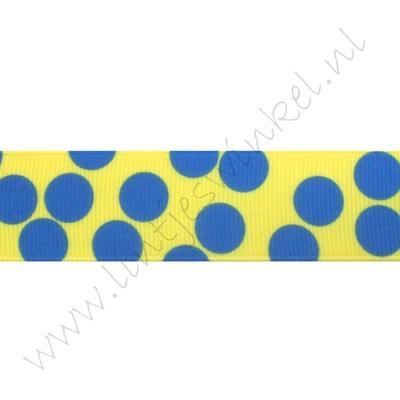 Ripsband Punkte Groß Mix 25mm - Gelb Blau