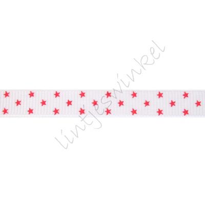 Ripsband Sterne 10mm - Klein Weiß Rot (3)