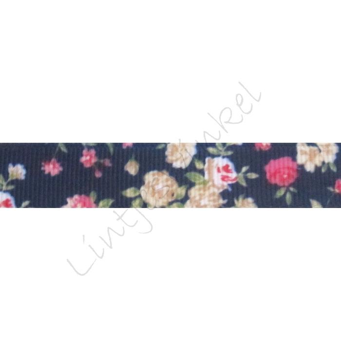 Ripsband Blumen 16mm - Marine Pink