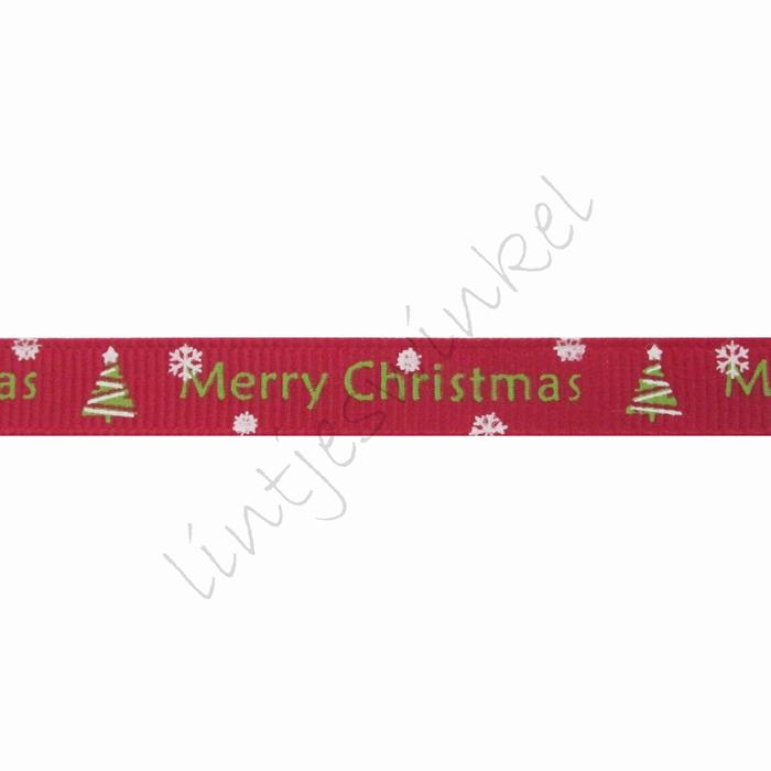 Ripsband Weihnachten 10mm - Merry Christmas Weihnachtsbaum Bordeaux