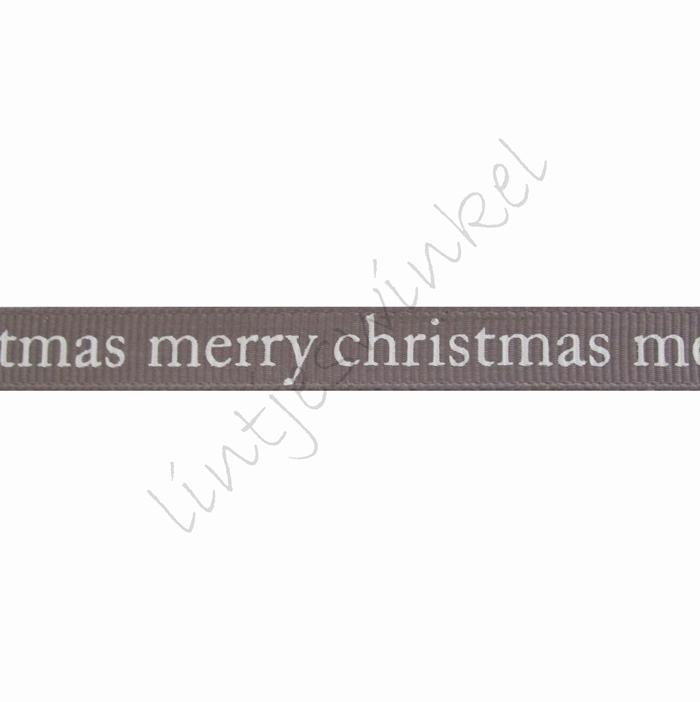 Ripsband Weihnachten 10mm - Merry Christmas Grau Weiß
