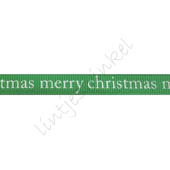 Ripsband Weihnachten 10mm - Merry Christmas Grün Weiß