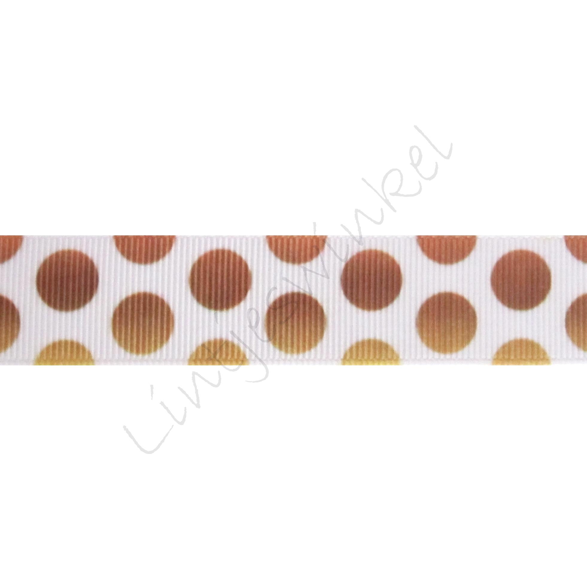 Ripsband Punkte Groß Mix 22mm - Weiß Goldbraun
