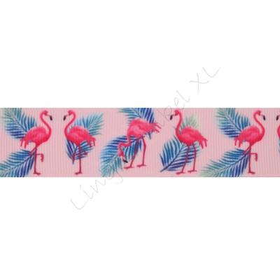 Ripsband Aufdruck 25mm - Flamingo Rosa