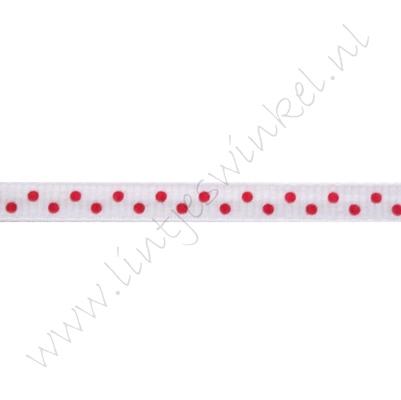 Ripsband Punkte 6mm - Weiß Rot