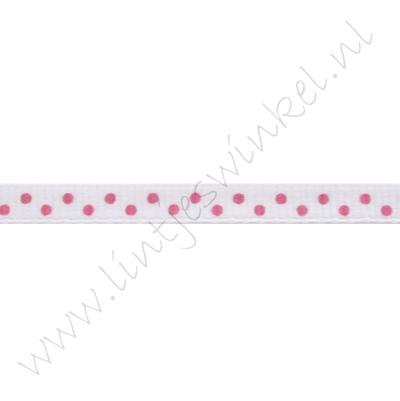 Ripsband Punkte 6mm - Weiß Pink