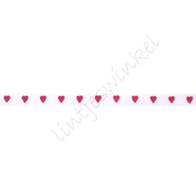 Satinband Herzen 3mm - Weiß Fuchsia