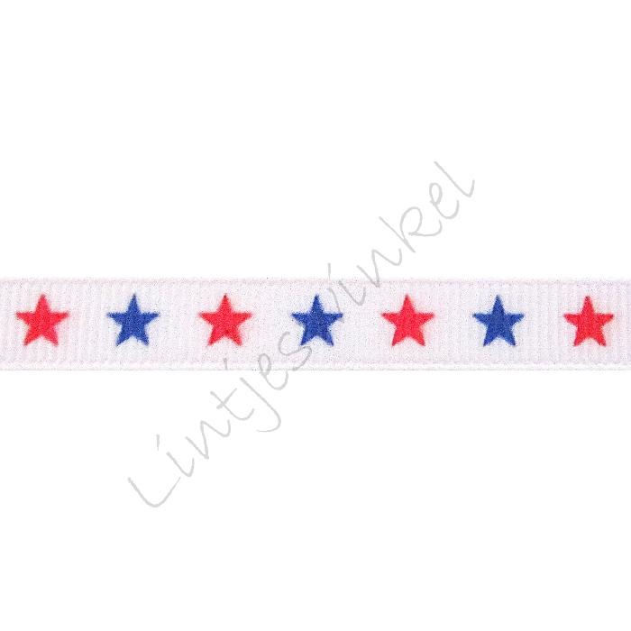Ripsband Sterne 10mm - Weiß Rot Blau