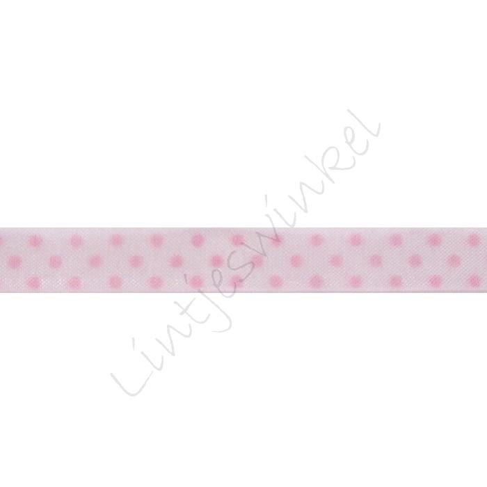 Organza Punkte 10mm - Weiß Rosa