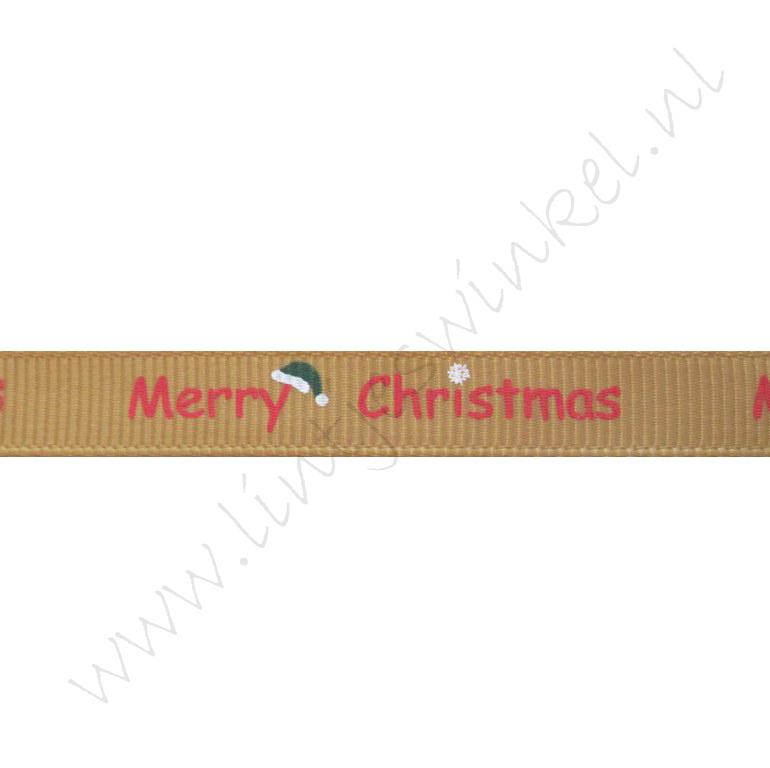 Ripsband Weihnachten 10mm - Merry Christmas Nikolausmütze Gold