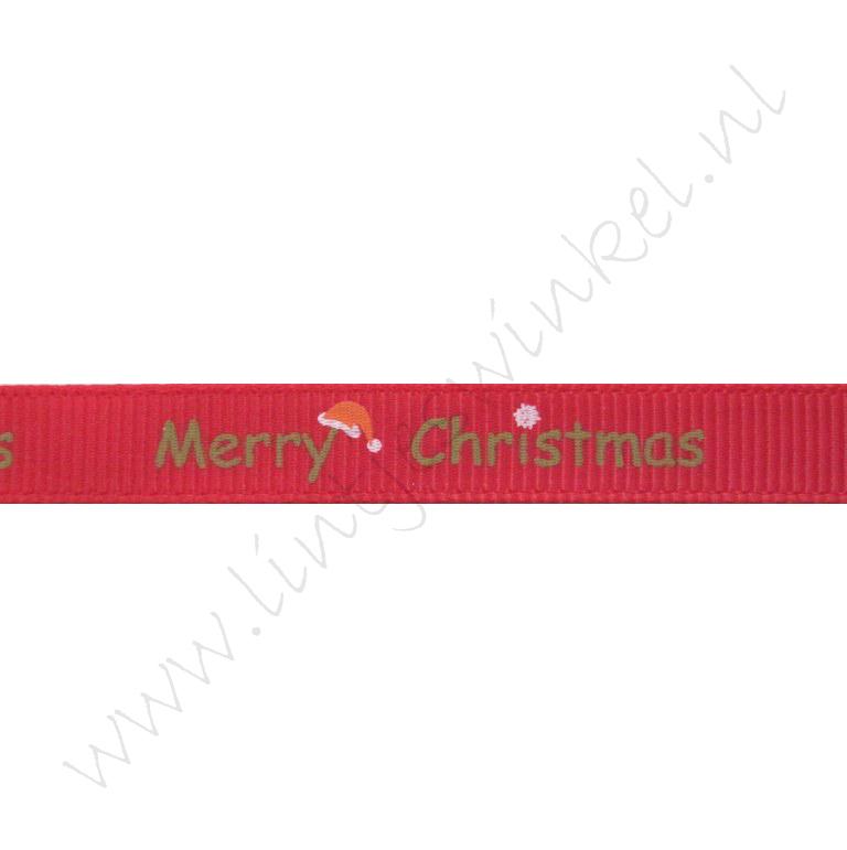Ripsband Weihnachten 10mm - Merry Christmas Nikolausmütze Rot