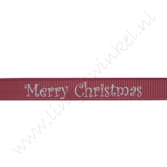 Ripsband Weihnachten 10mm - Merry Christmas Bordeaux Silber