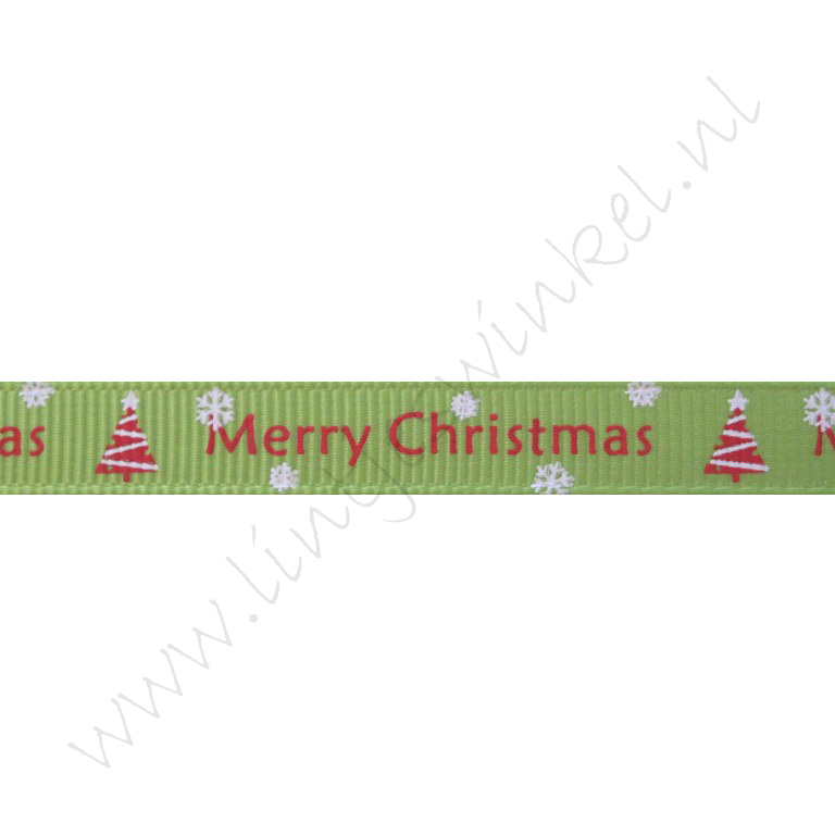 Ripsband Weihnachten 10mm - Merry Christmas Weihnachtsbaum Hell Grün