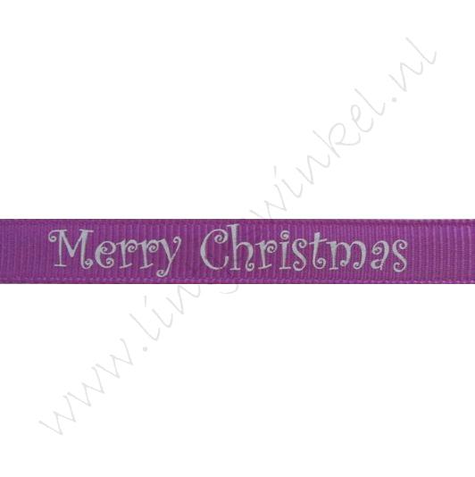 Ripsband Weihnachten 10mm - Merry Christmas Lila Silber