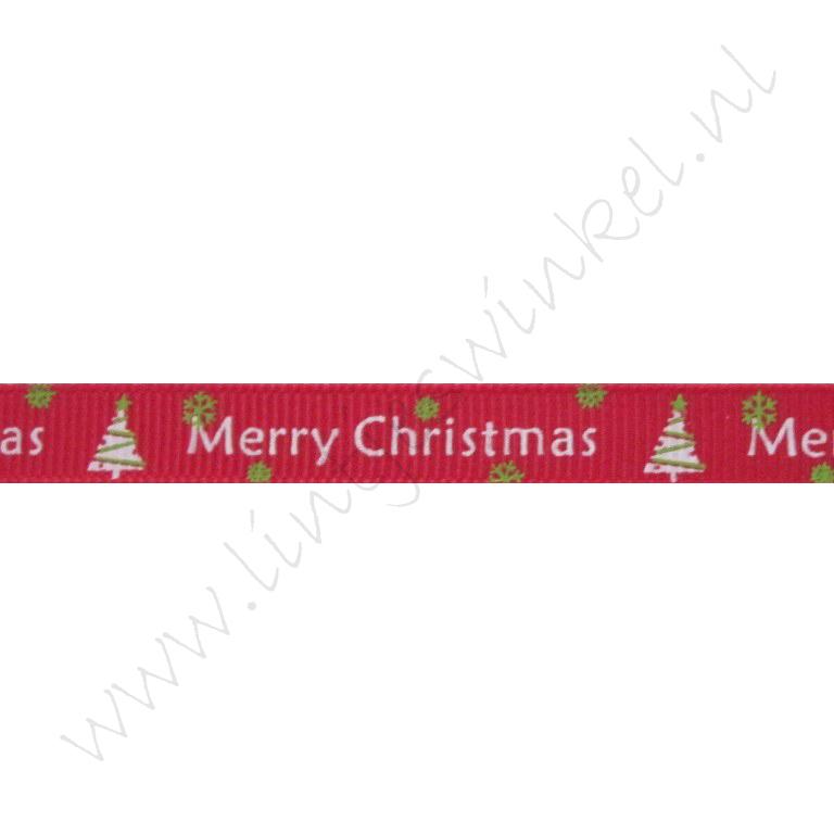 Ripsband Weihnachten 10mm - Merry Christmas Weihnachtsbaum Rot