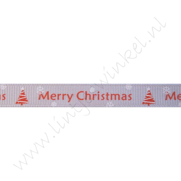 Ripsband Weihnachten 10mm - Merry Christmas Weihnachtsbaum Silber