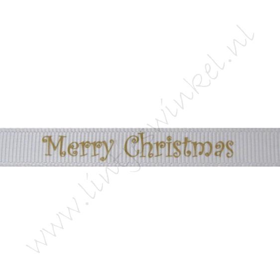 Ripsband Weihnachten 10mm - Merry Christmas Silber Gold