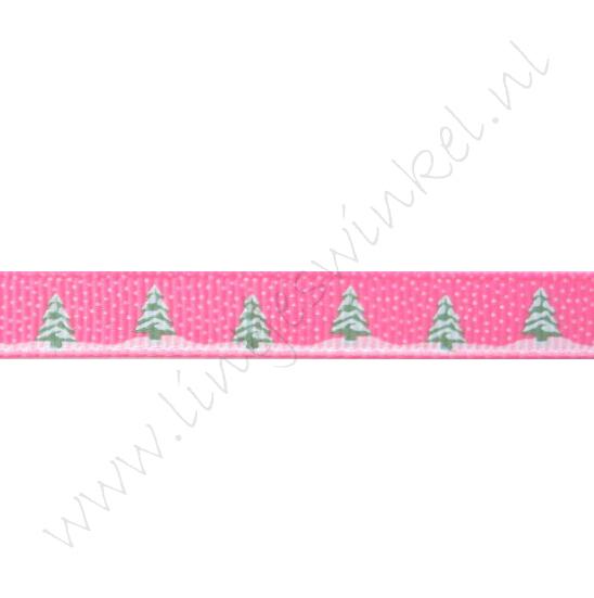 Ripsband Weihnachten 10mm - Schneebaum Pink