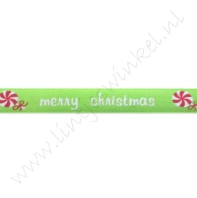 Satinband Weihnachten 10mm - Merry Christmas Apfelgrün Weiß