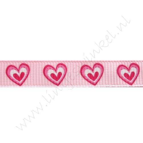 Ripsband Herzen 10mm - Offen Rosa Pink