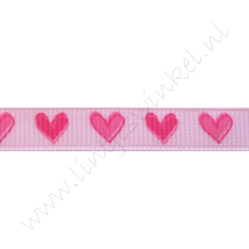 Ripsband Herzen 10mm - Rosa Pink