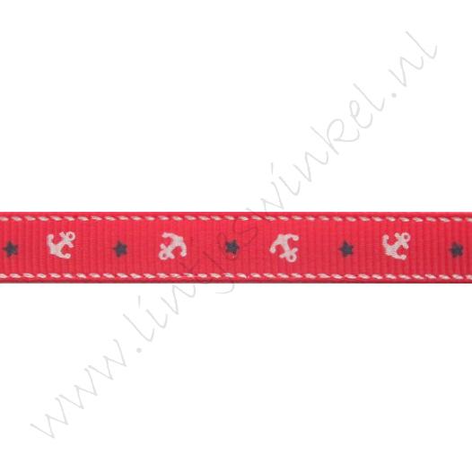 Ripsband Aufdruck 10mm - Anker Rot