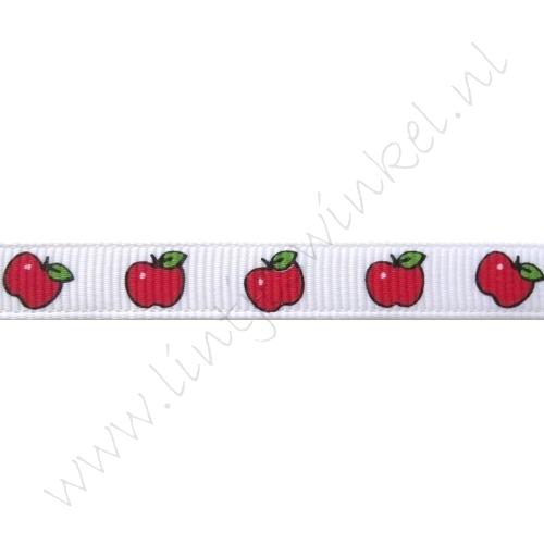 Ripsband Aufdruck 10mm - Apfel Weiß