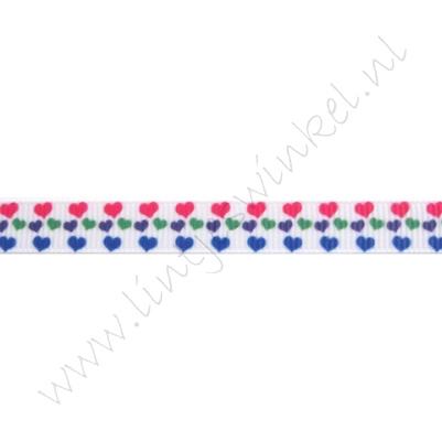Ripsband Herzen 10mm - Mini Pink Blau Lila Grün