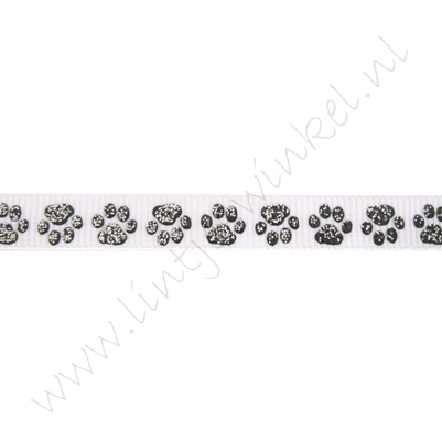Ripsband Aufdruck 10mm - Pfote Weiß Schwarz Glitzer