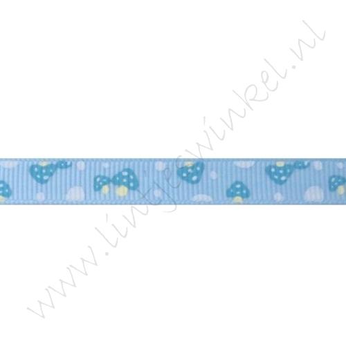 Ripsband Aufdruck 10mm - Pilz Blau
