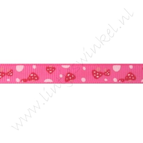 Ripsband Aufdruck 10mm - Pilz Pink
