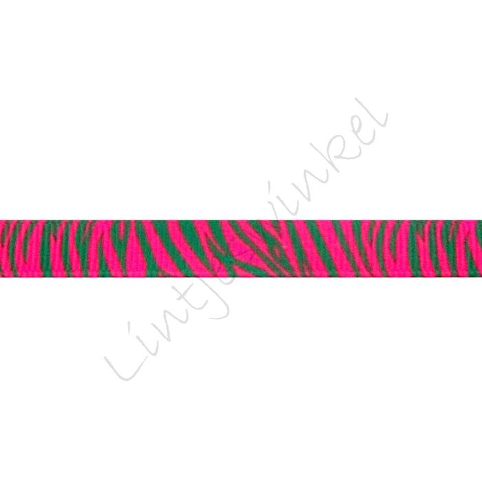 Ripsband Aufdruck 10mm -  Zebra Pink Grün