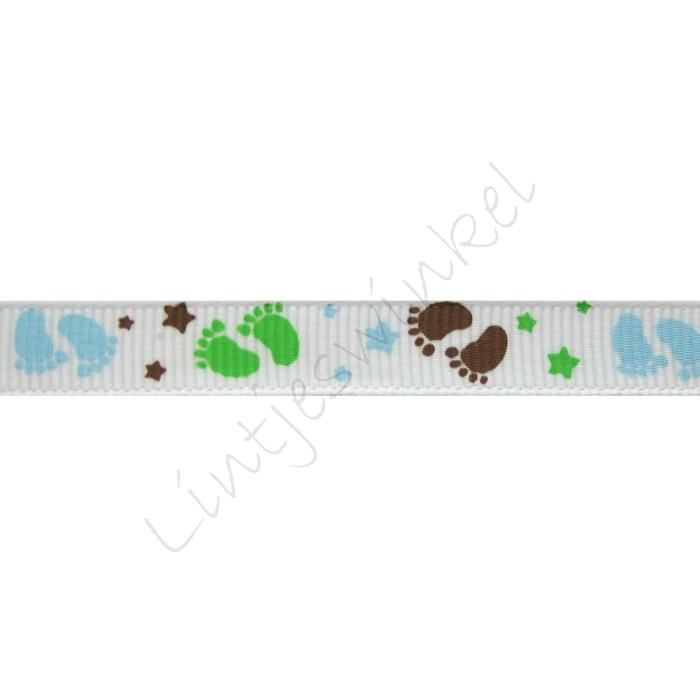 Baby Ripsband 10mm - Füße Blau Grün