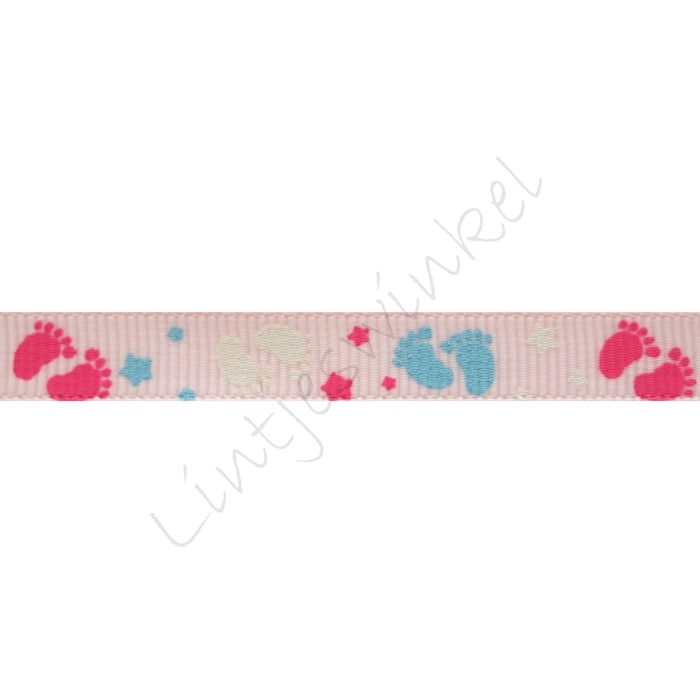 Baby Ripsband 10mm - Füße Rosa Pink