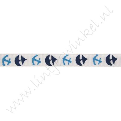 Ripsband Aufdruck 10mm - Segelboot Anker Weiß Blau