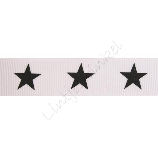 Ripsband Sterne 22mm - Weiß Schwarz