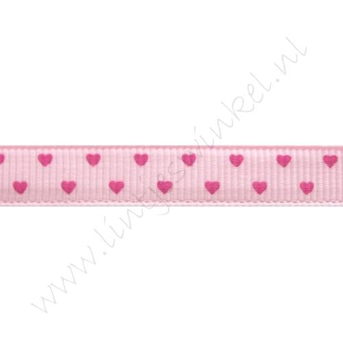 Ripsband Herzen 10mm - Mini Rosa Pink