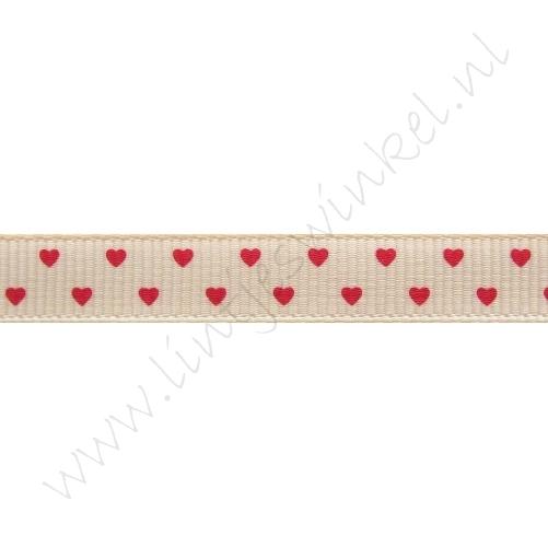 Ripsband Herzen 10mm - Mini Lachs Rot