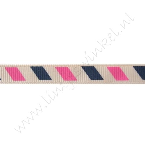 Ripsband Aufdruck 10mm - Airmail Marine Pink