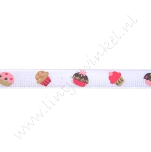 Ripsband Aufdruck 10mm - Cupcakes Weiß