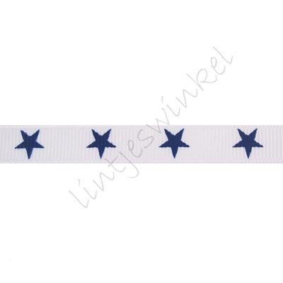 Ripsband Sterne 10mm - Weiß Marine