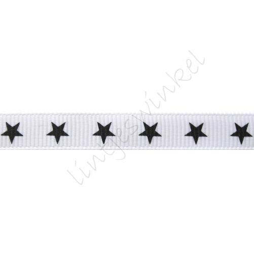 Ripsband Sterne 10mm - Weiß Schwarz