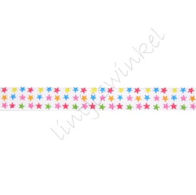 Ripsband Sterne 10mm - Klein Weiß Farbenmix