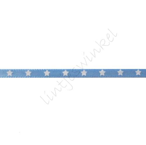 Satinband Sterne 3mm - Hell Blau Weiß