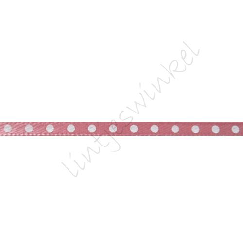 Satinband Punkte 3mm - Antik Rosa Weiß
