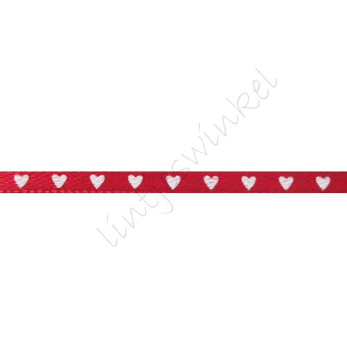 Satinband Herzen 3mm - Rot Weiß